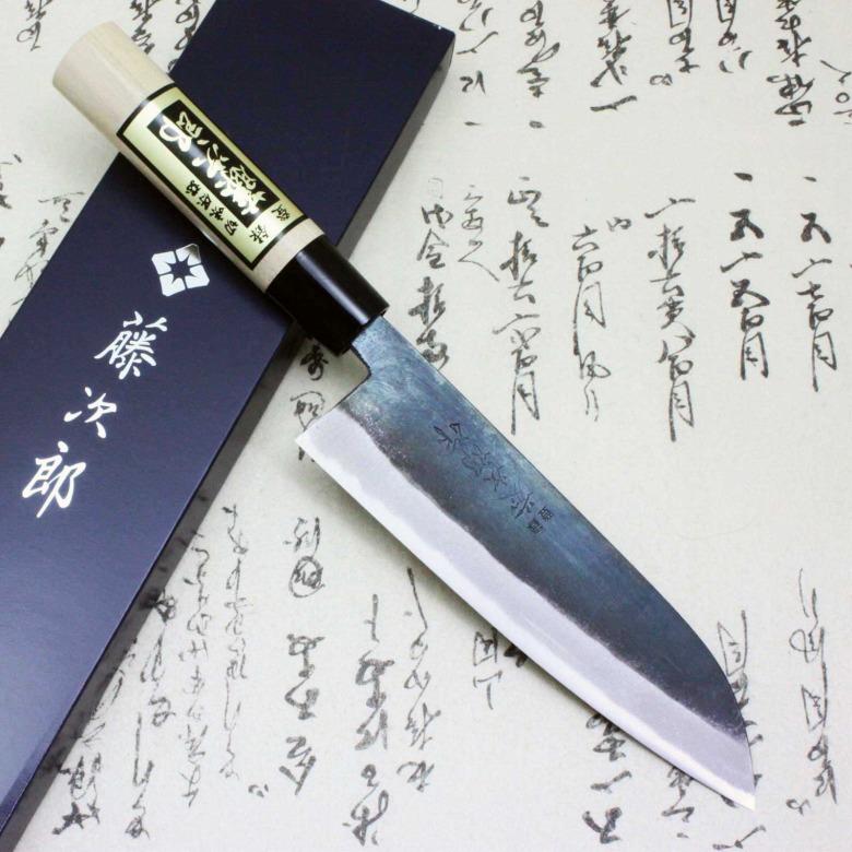 Tojiro Japanese Knife Sushi Chef White Steel Shirogami Black Finished Santoku