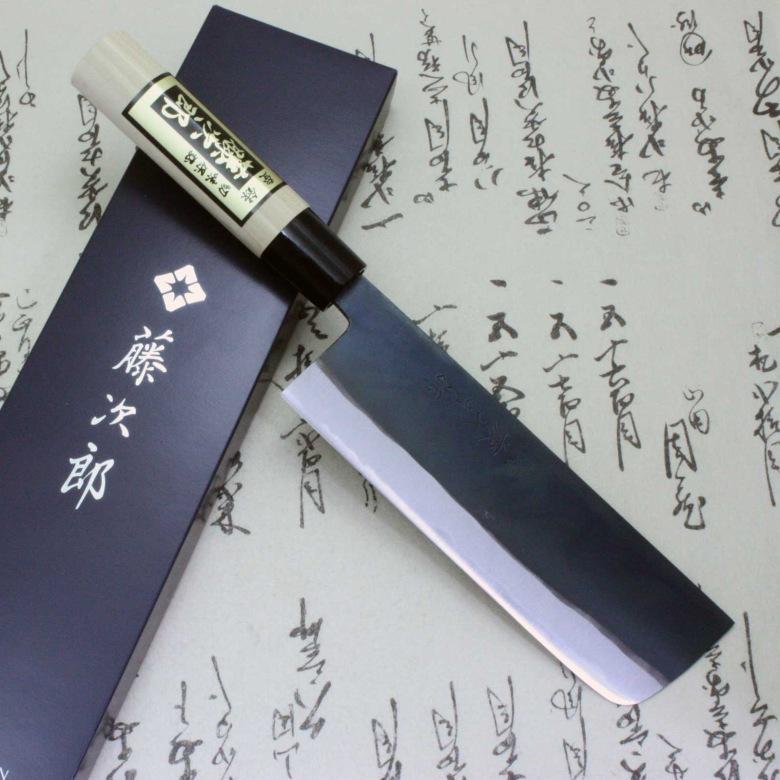 Tojiro Japanese Knife Sushi Chef White Steel Shirogami Black Finished Nakiri