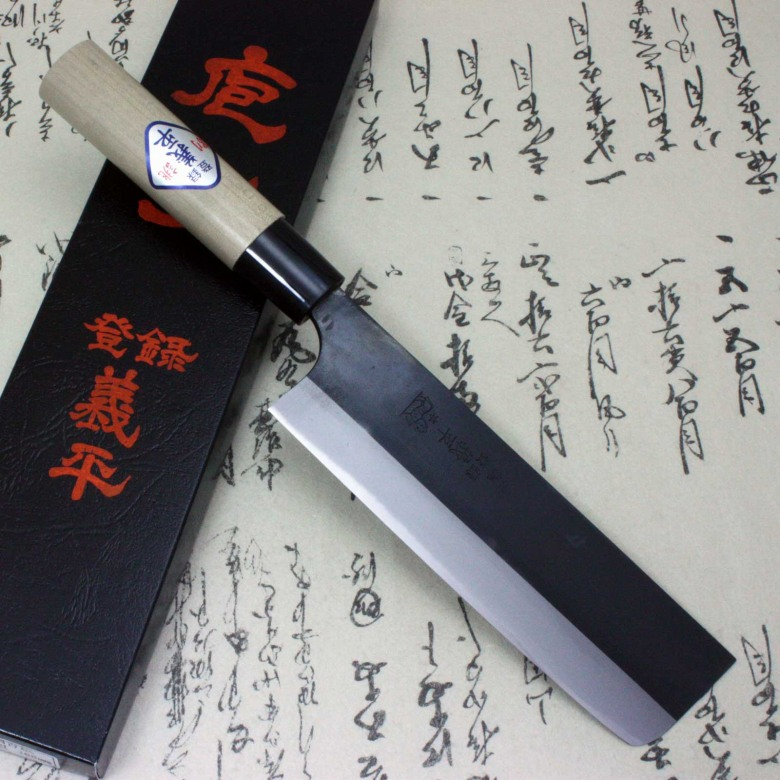 Gihei Japanese Kitchen Chef Knife Blue Carbon Steel Nakiri Usuba 165mm Aogami