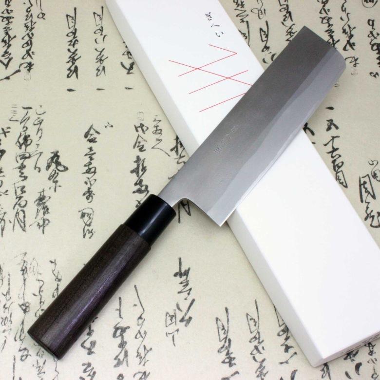 Gihei Japanese Kitchen Chef Knife Blue Steel Nashiji Nakiri Usuba 165mm