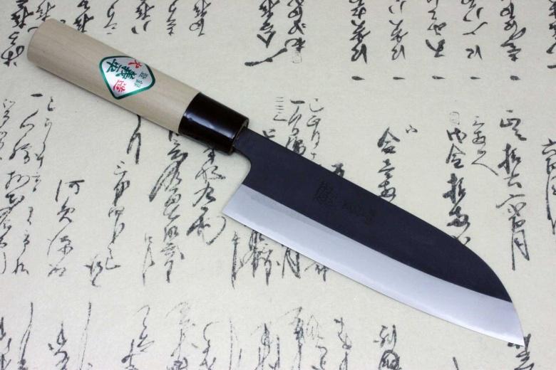 Gihei Japanese Kitchen Chef Knife White Carbon Steel Santoku 165mm