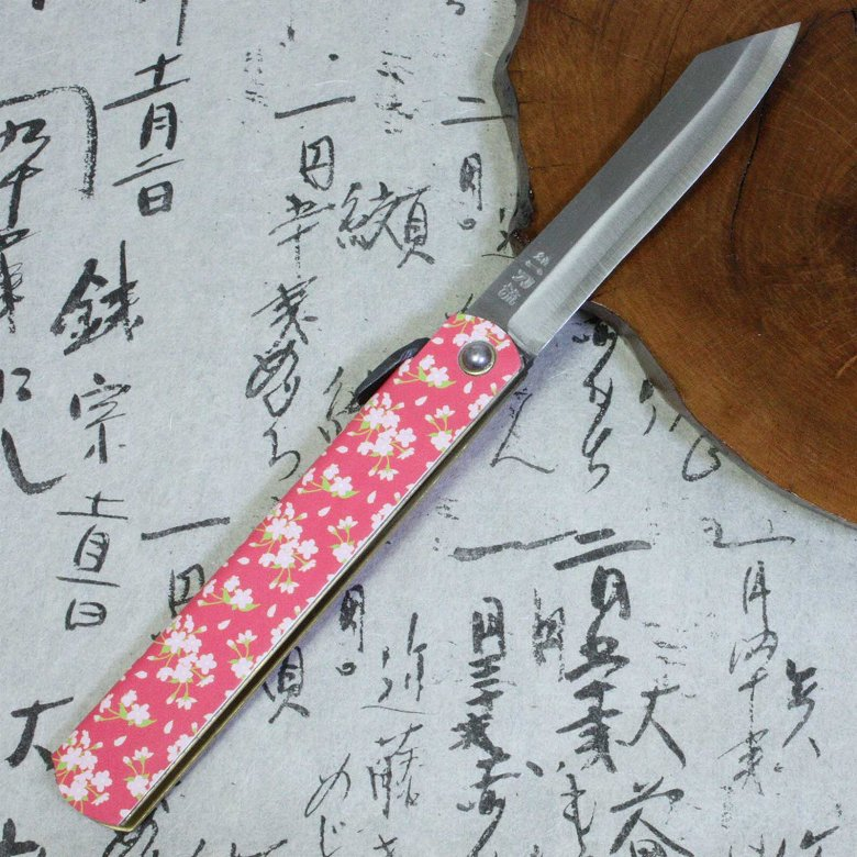 Higonokami Japanese Folding Pocket Knife Blue Steel Printed Leather Sakura