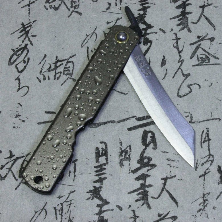 Higonokami Japanese Folding Pocket Knife Katana Mizusibuki Brown
