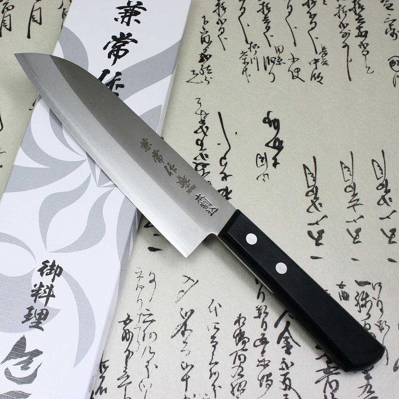 Japanese Kanetsune Sushi Chef Knife Warikomi Carbon & Stainless Santoku 2500-1