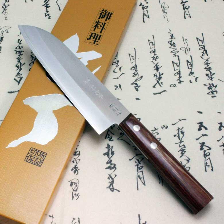 Japanese Kanetsune Sushi Chef Knife Warikomi Carbon & Stainless Santoku 3500-1