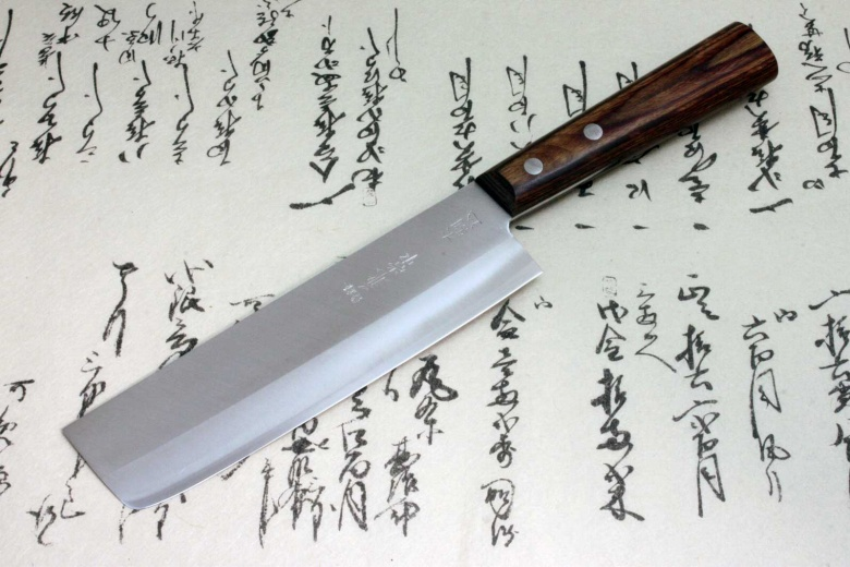 Japanese Kanetsune Chef Knife Warikomi Carbon & Stainless Usuba Nakiri 3500-2