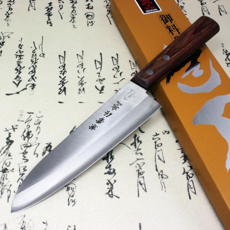 Japanese Kanetsune Sushi Chef Knife Warikomi Carbon & Stainless Gyuto 3500-3