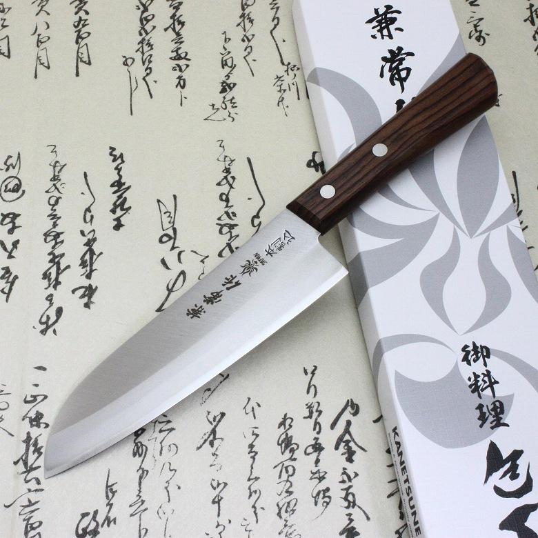 Japanese Kanetsune Sushi Chef Knife Hagane Warikomi Stainless Santoku 165mm 500
