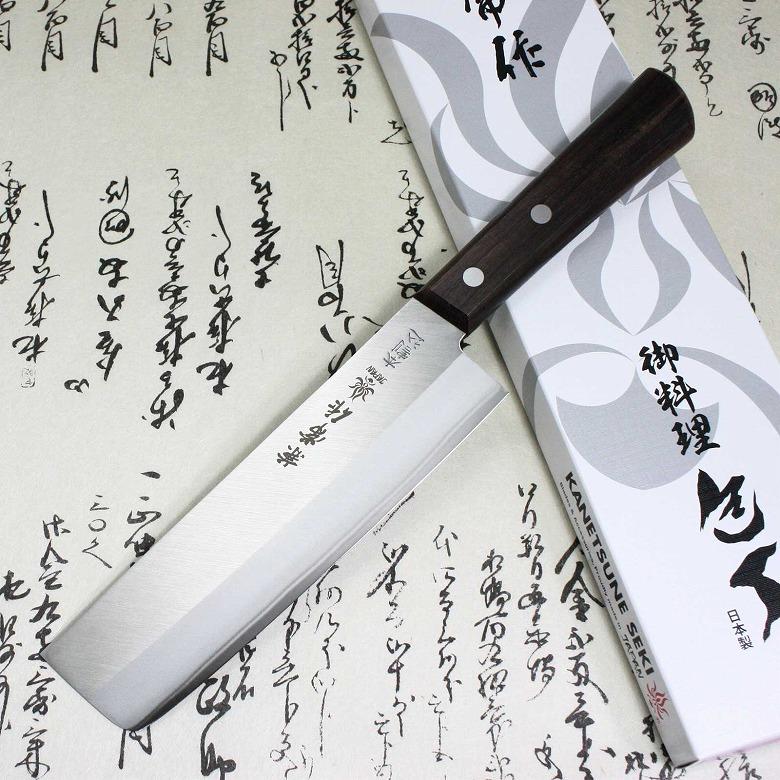 Japanese Kanetsune Sushi Chef Knife Hagane Warikomi Stainless Usuba 165mm 500
