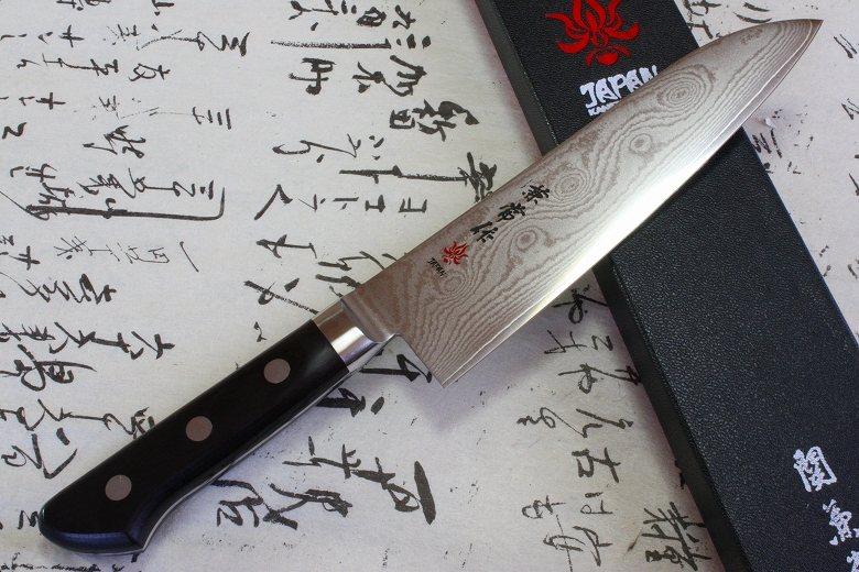 Japanese Chef Knife Kanetsune Damascus VG10 Stainless Steel Santoku 180mm KC-103