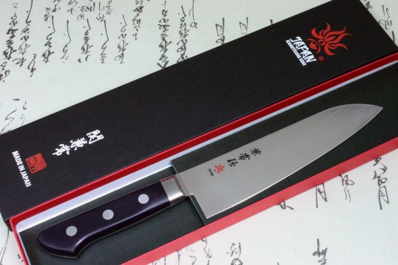 Japanese Chef Knife Kanetsune Damascus VG10 Stainless Steel Santoku 180mm KC-203