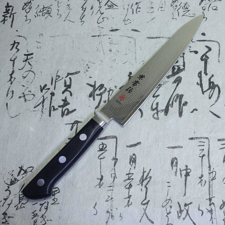 Kanetsune Japanese Chef Knife Nickel Damascus Kasumi VG-10 Stainless Petty 150mm