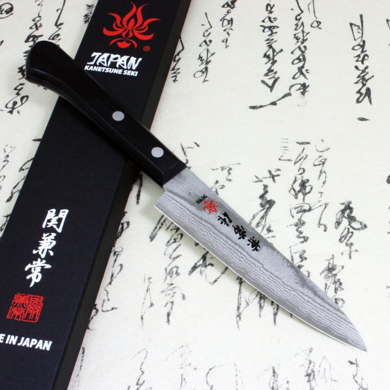 Japanese Chef Knife Kanetsune Damascus VG10 Stainless Steel Petty 120mm KC-304