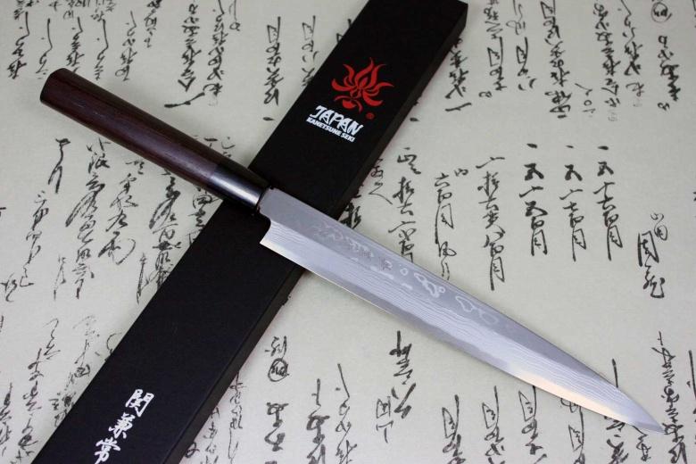 Kanetsune Japanese Sushi Chef Knife Damascus Kasumi Yanagiba 240mm KC-402