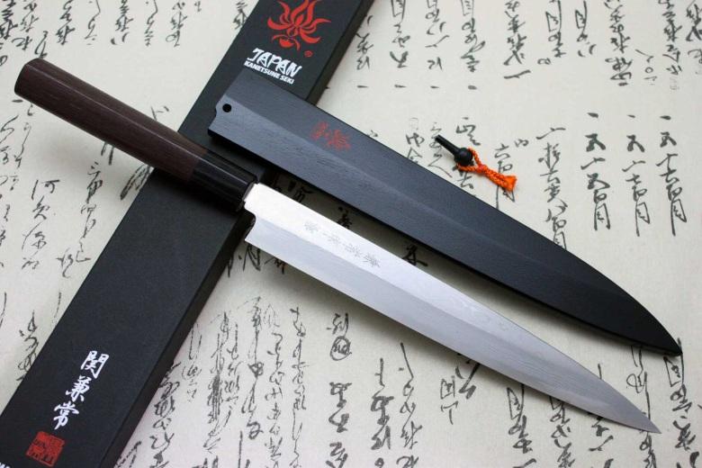 Kanetsune Japanese Sushi Knife Damascus Yanagiba with Saya Sheath 240mm KC-402