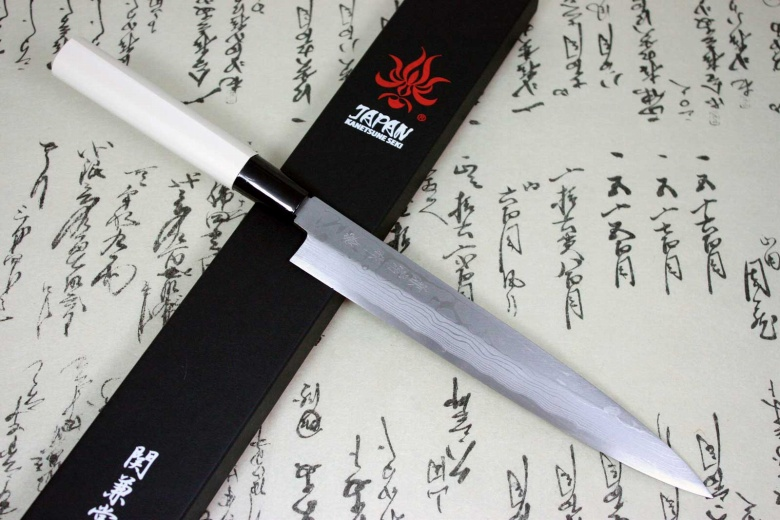Kanetsune Japanese Sushi Chef Knife Damascus Kasumi Yanagiba 210mm KC-503
