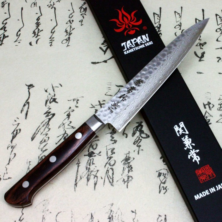 Kanetsune Japanese Chef Knife Damascus Kasumi VG-10 Hammered Finish Petty