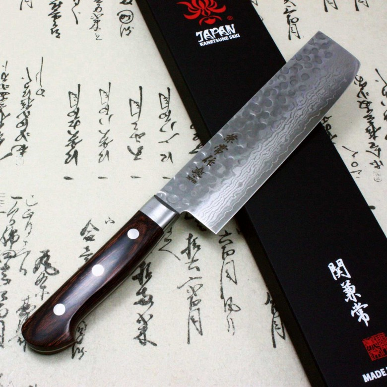 Kanetsune Japanese Chef Knife Damascus Kasumi VG-10 Hammered Finish Usuba Nakiri