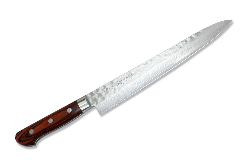 Kanetsune Japanese Chef Knife Damascus Kasumi VG-10 Hammered Finish Sujihiki