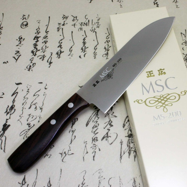 Japanese Masahiro Kitchen Chef Knife Staineless Steel MS-200 Santoku 165mm F/S