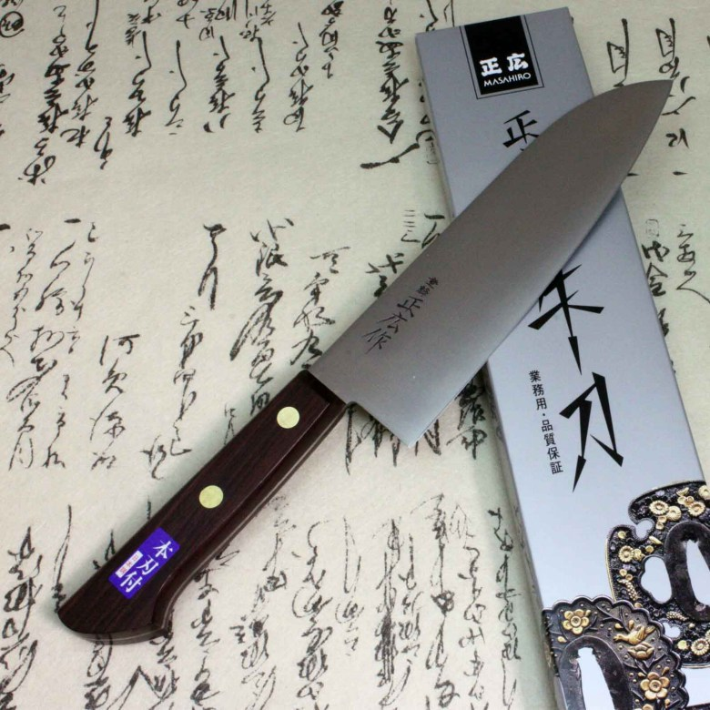 Masahiro Japanese Chef Kitchen Knife Carbonn Steel Santoku Knife Seki