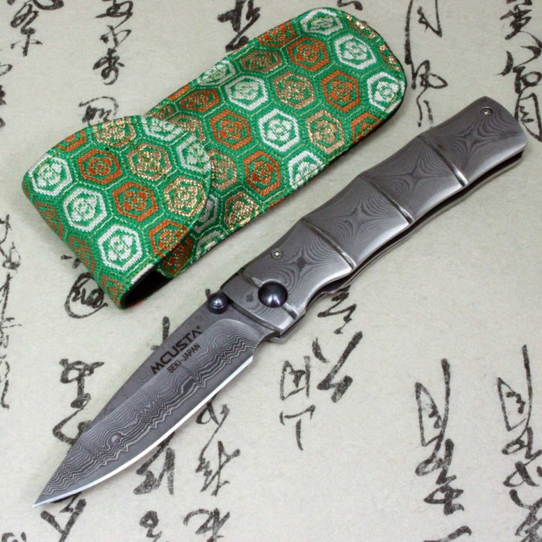 Mcusta Japanese Folding Pocket Knife Damascus 33 Layers MC-0033D Bamboo