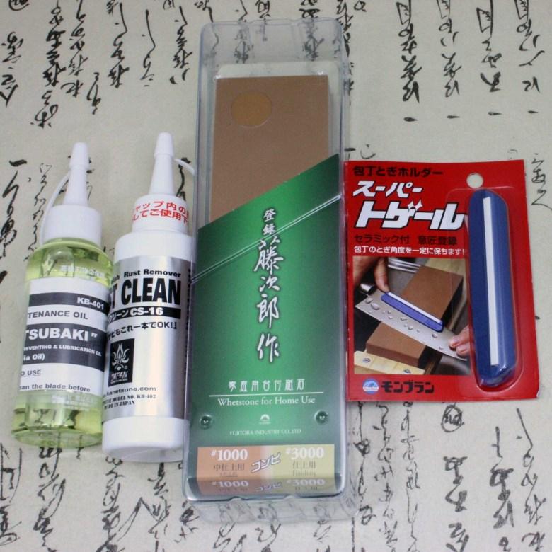 Japanese Knife Sharpner Set Sharpening Stone & Angle Holder & Oil & Rust remover