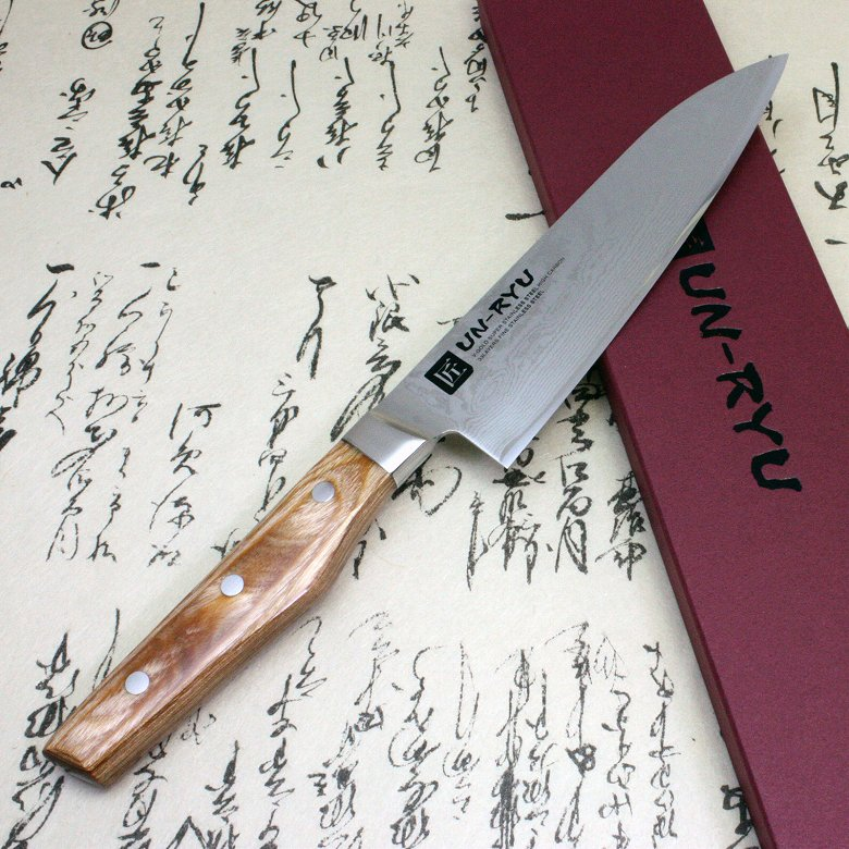 Japanese Damascus Kitchen Sushi Chef Knife UN-RYU Santoku Made in Japan