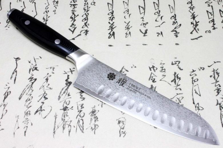 Japanese Yaxell YO-U 69 layers VG-10 Damascus Kitchen Knife Santoku with Dimples