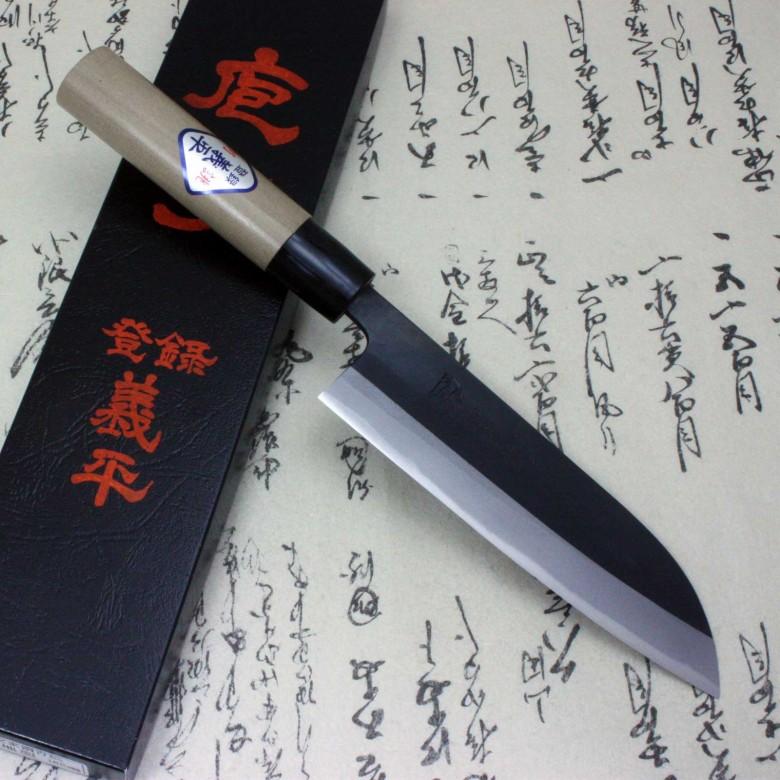Blue Kitchen Knife: Gihei Japanese Kitchen Chef Knife Blue Carbon Steel Santoku 165mm Aogami Japan